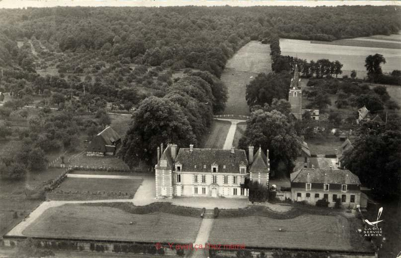 Fontaine-l'Abbé - Vue aérienne du château