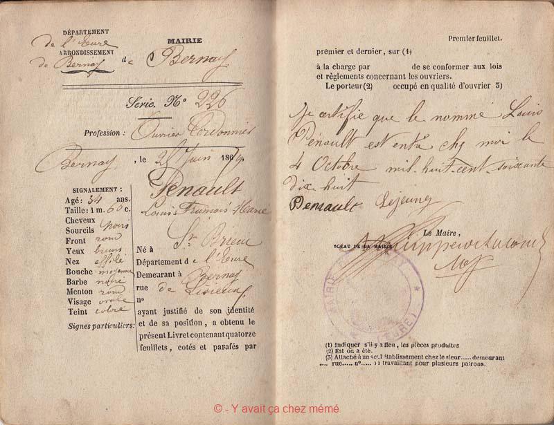 Bernay - Livret d'ouvrier (04-10-1878)