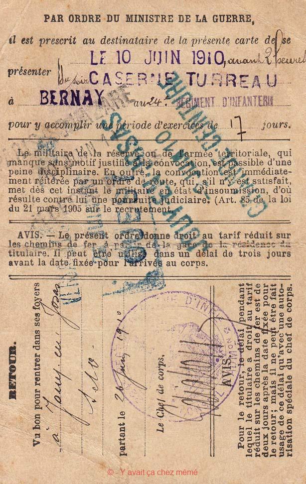 Bernay - Caserne Turreau -Ordre d'appel (10-06-1910)