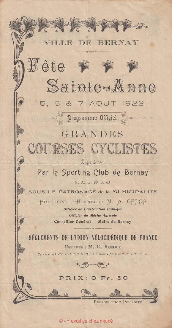 Bernay - Programme de la Fête Ste Anne (05-08-1922)