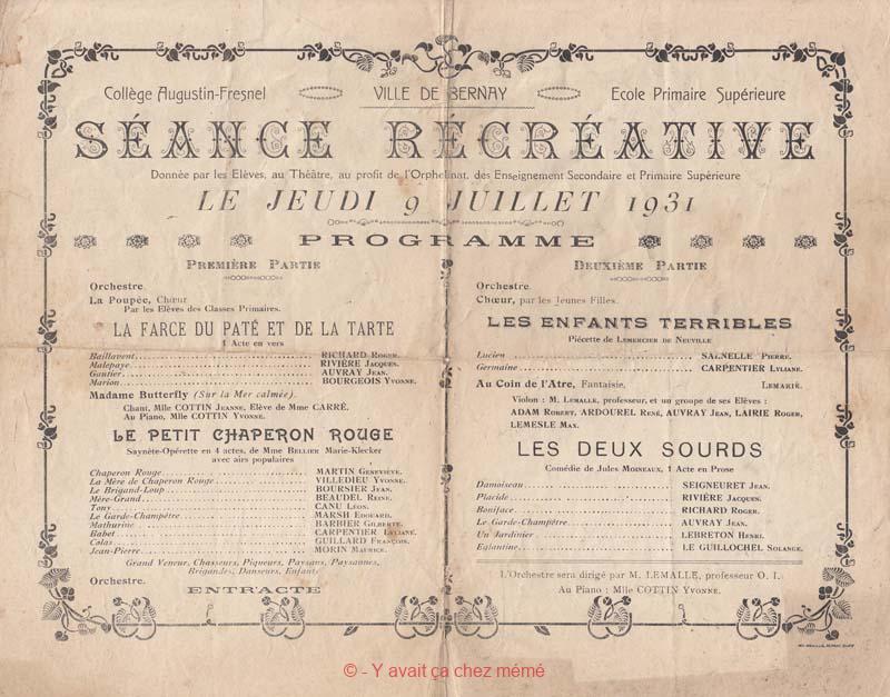 Bernay - Séance récréative du 9 juillet 1931 par les élèves du collège A. Fresnel