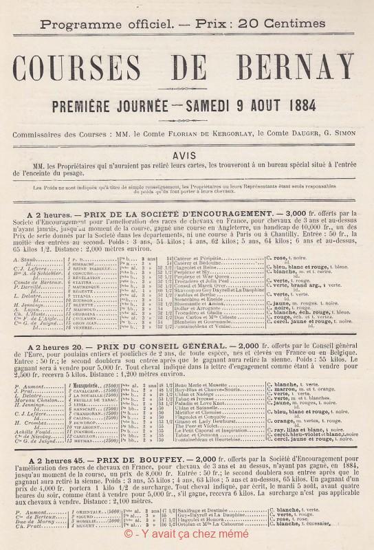 Bernay - Hippodrome - Courses du 6 août 1884