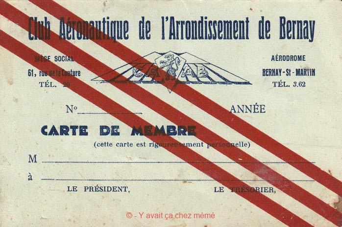 Bernay - Carte de membre du Club Aéronautique de l'Arrondissement de Bernay