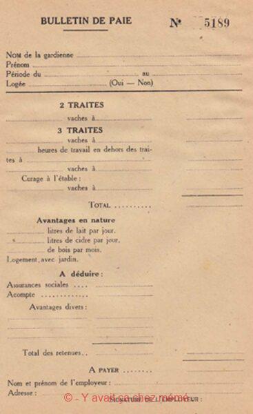 La laiterie - Bulletin de paie pour gardiennes-trayeuses (1949)