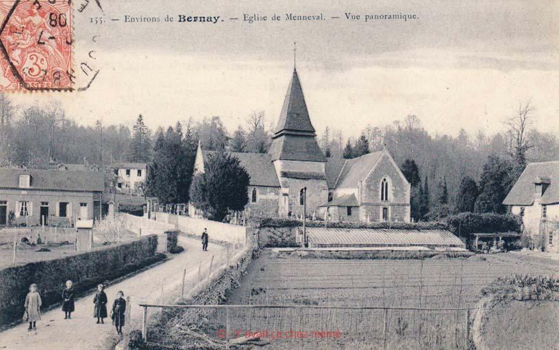 Menneval - L'église - Vue panoramique