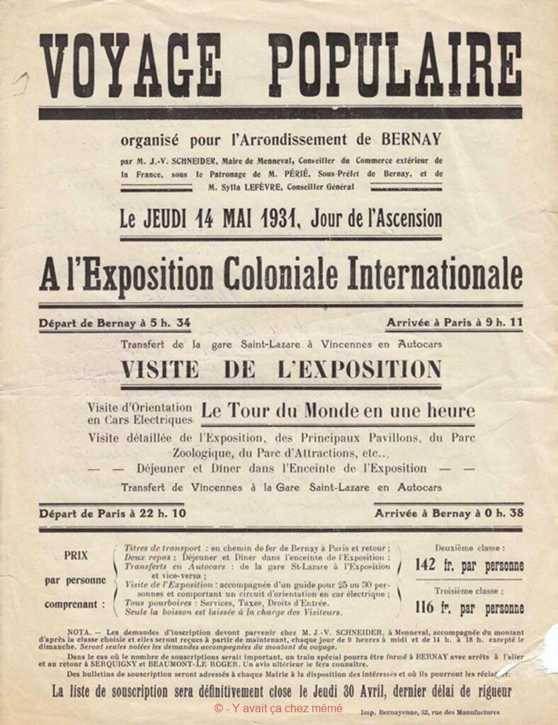 Bernay - Programme d'un voyage populaire du 14 mai 1931 à l'exposition coloniale internationale de Paris
