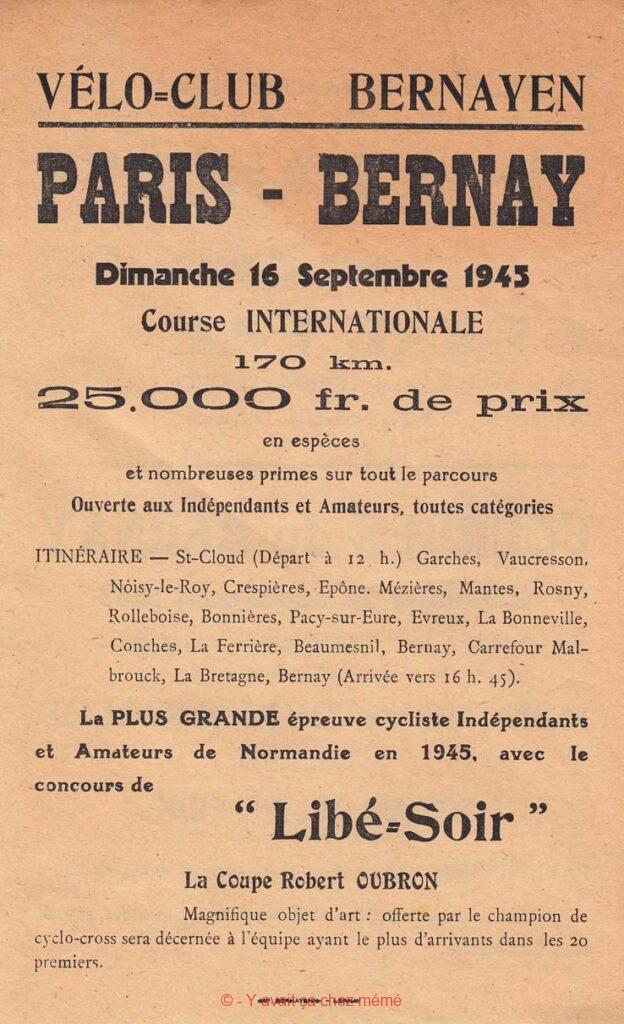 Bernay - Programme du Paris-Bernay cycliste du 16 septembre 1945 (recto)