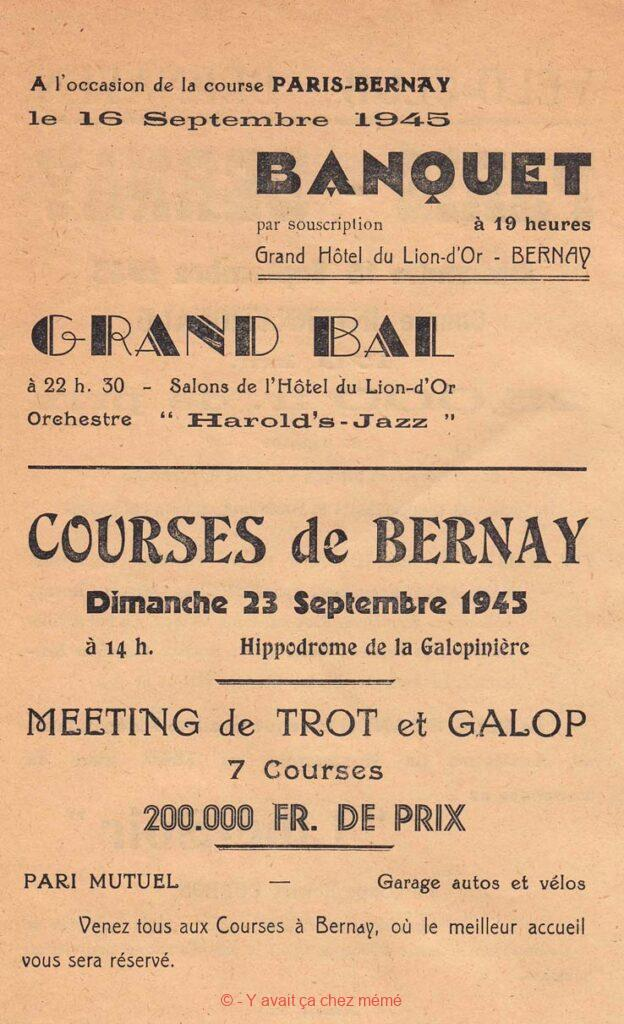 Bernay - Programme du Paris-Bernay cycliste du 16 septembre 1945 (verso)