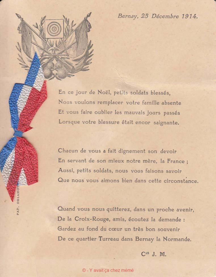 Bernay - Poème aux soldats blessés (25 décembre 1914)