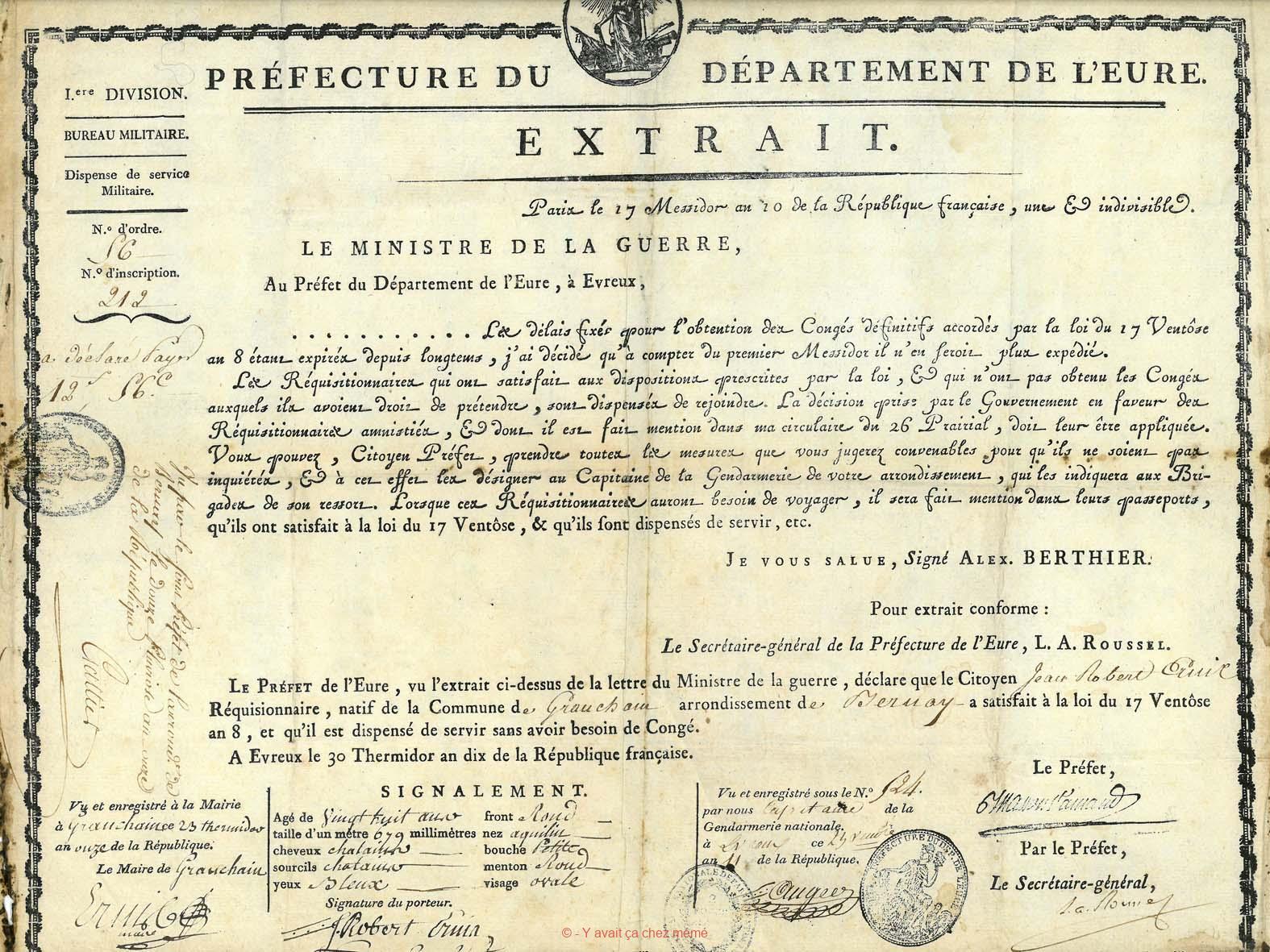 Granchain - Dispense militaire de Jean Robert TRUIN signe le 11 août 1803 en Mairie de Granchain
