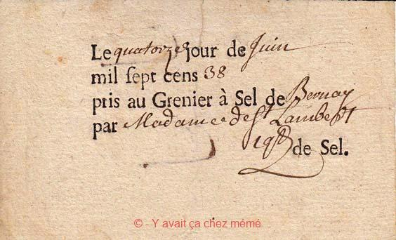 Bon de transport de sel - (14/06/1738)