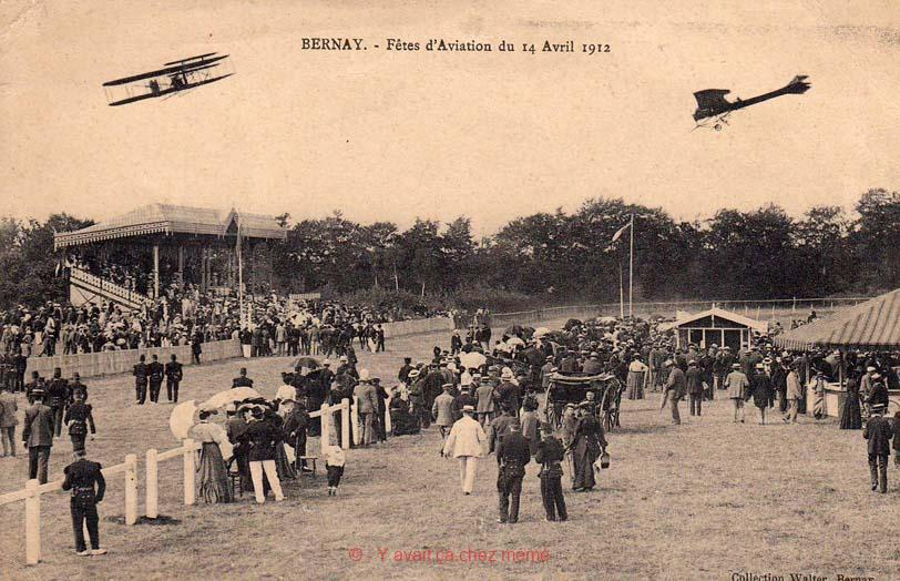 Bernay - L'hippodrome - Fêtes d'Aviation du 12/04/1912