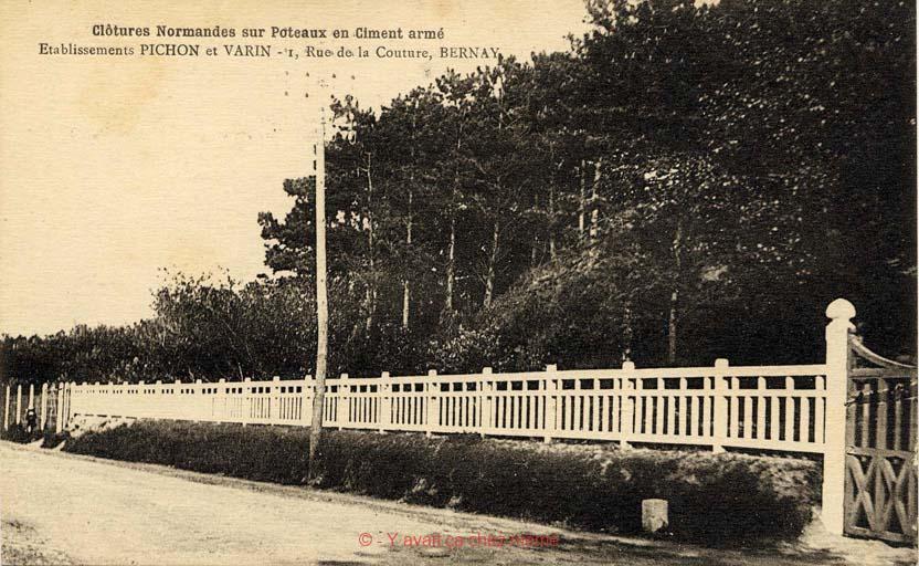 Clôtures Normandes sur Poteaux en Ciment armé par les Établissements PICHON et VARIN