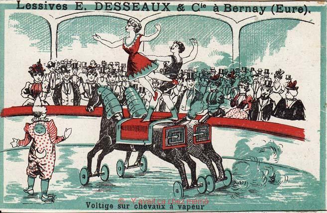 Lessives DESSEAUX - Voltige sur chevaux à vapeur