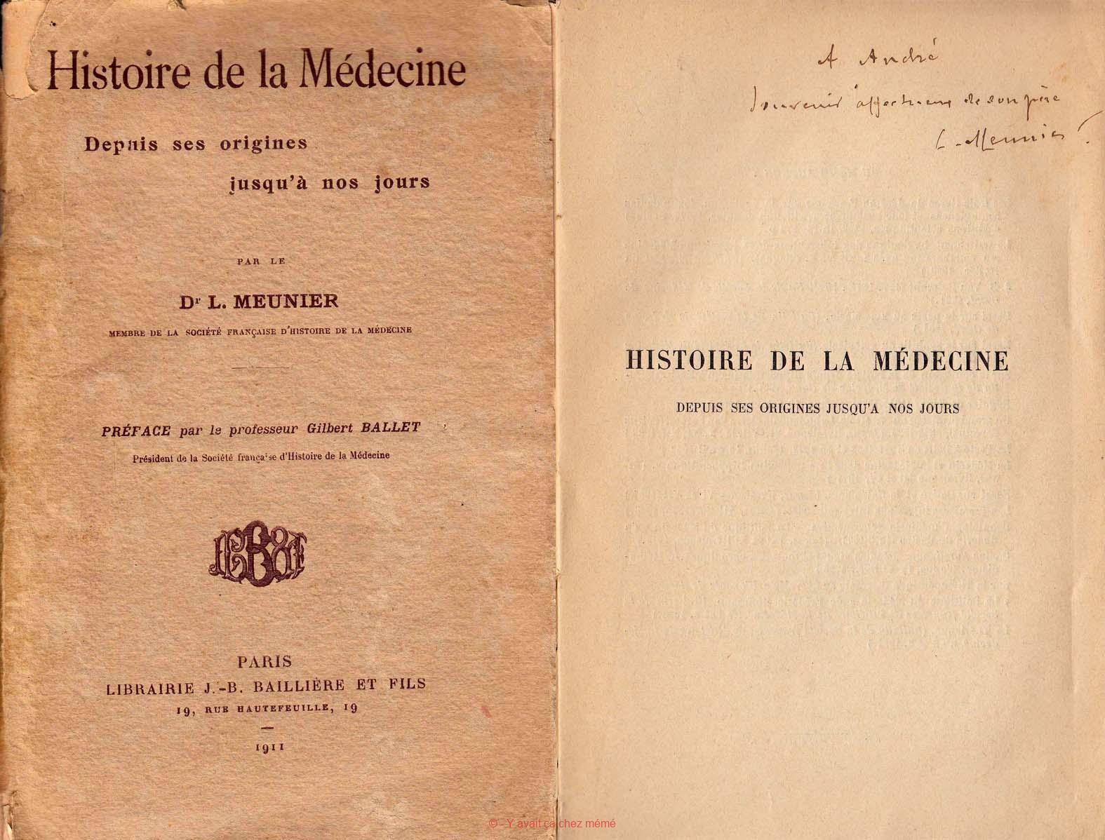 Histoire de la Médecine par le Dr Léon MEUNIER