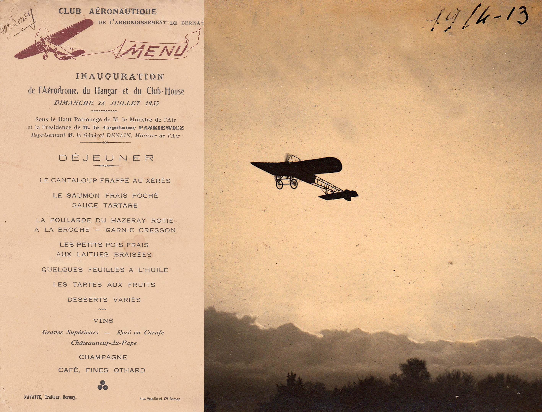 Avant la création de l'actuel aérodrome de Bernay-St Martin en 1935, les avions comme celui photographié par Walter en 1913, décollaient de l'hippodrome.