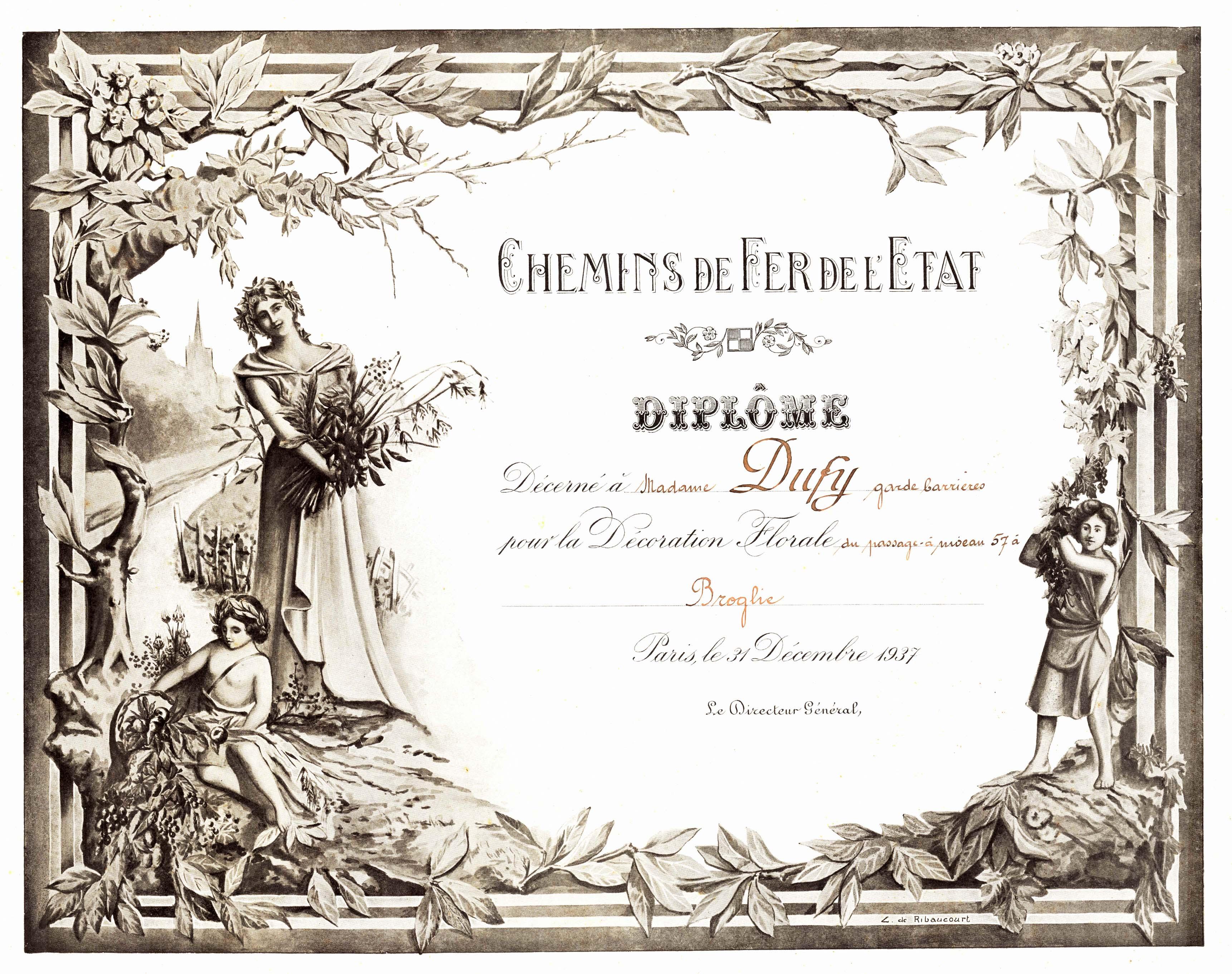 Diplôme pour décoration florale de Madame DUFY garde barrière du passage à niveau 57 - 31 Décembre 1937